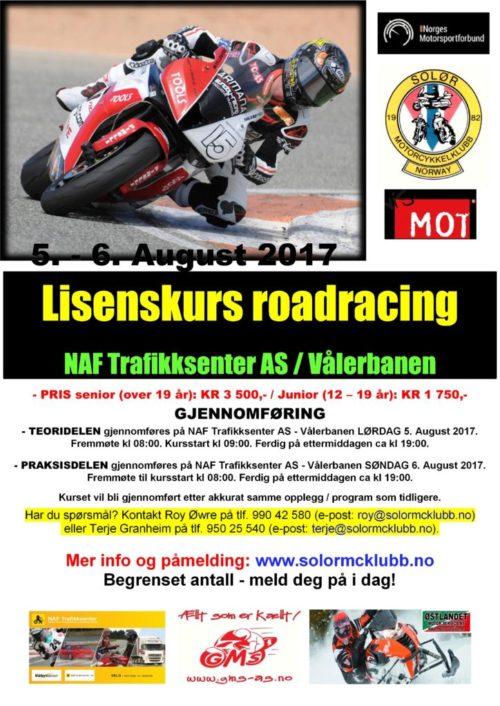 0 - poster lisenskurs 2 - roadracing - august 2017-001