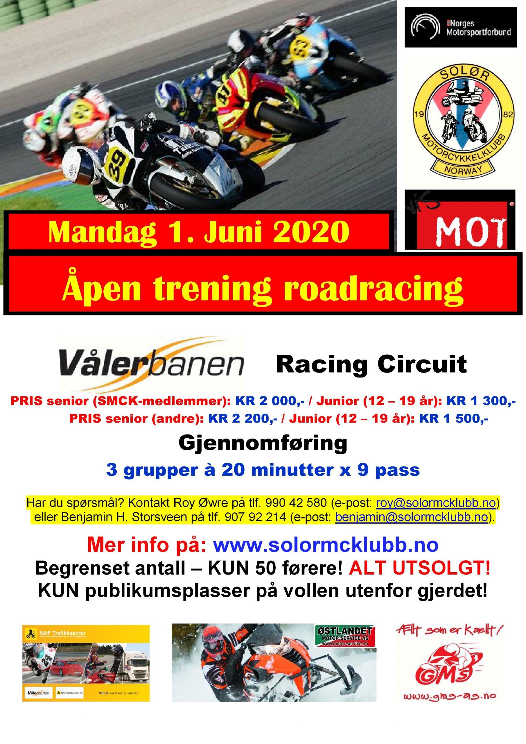 10 - POSTER - Heldagstrening RR - Vålerbanen - Mandag 1. Juni 2020
