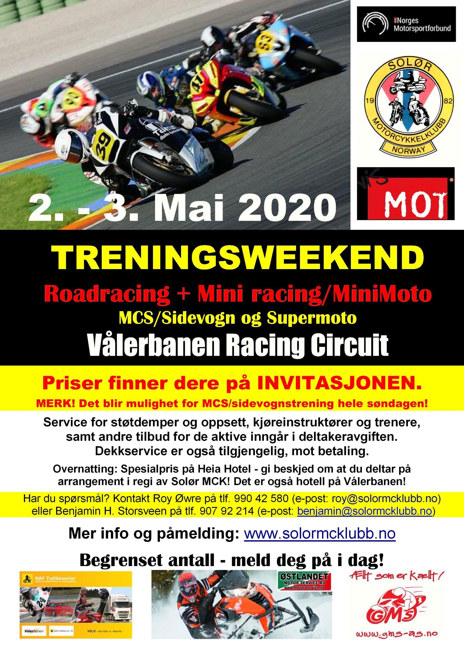 10 - POSTER - Treningsweekend - Vålerbanen - Mai 2020