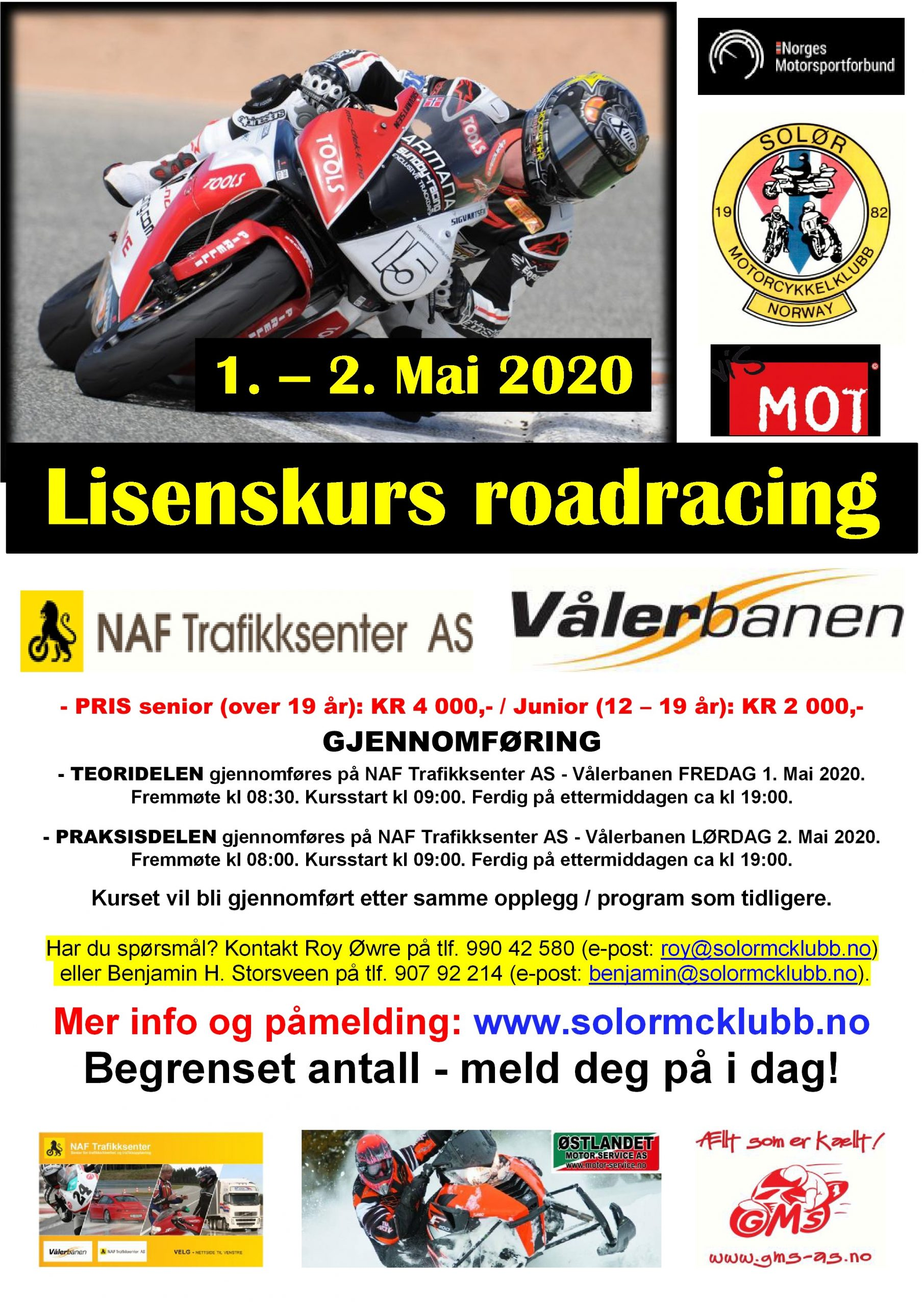 2 - POSTER lisenskurs 1 - roadracing på Vålerbanen – MAI 2020