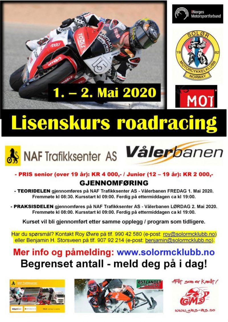 2 - POSTER lisenskurs 1 - roadracing på Vålerbanen – MAI 2020
