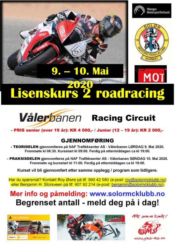 20 - POSTER lisenskurs 2 - roadracing på Vålerbanen – MAI 2020