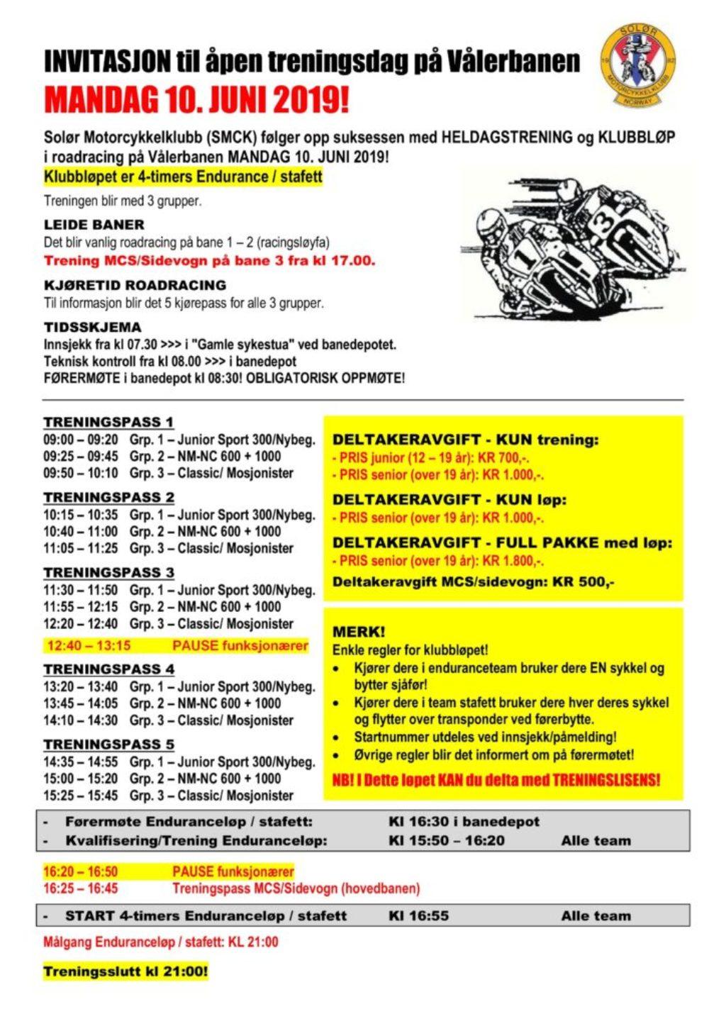 Invitasjon til treningsdag + klubbløp på vålerbanen - side 1