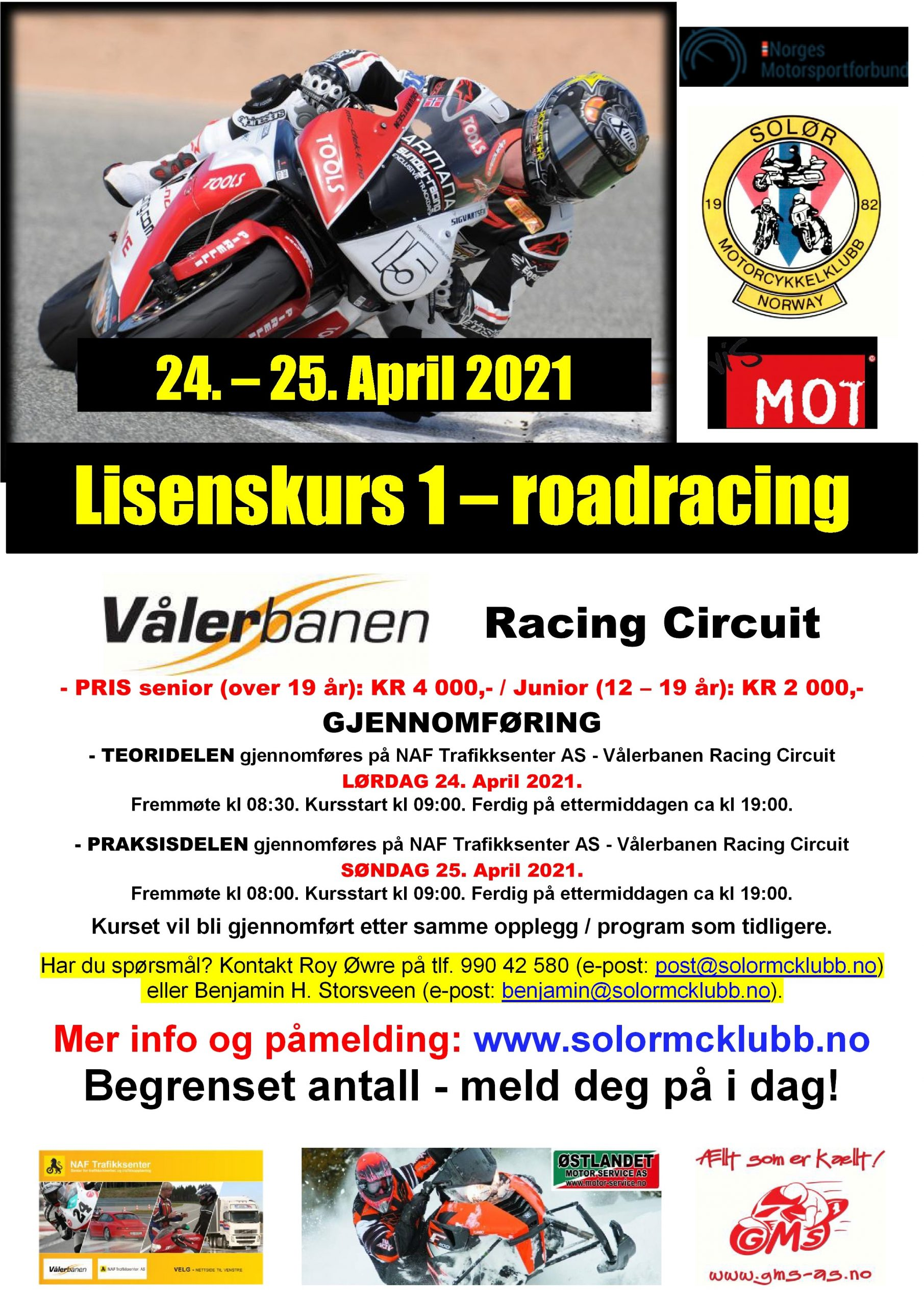 POSTER lisenskurs 1 - roadracing på Vålerbanen – APRIL 2021