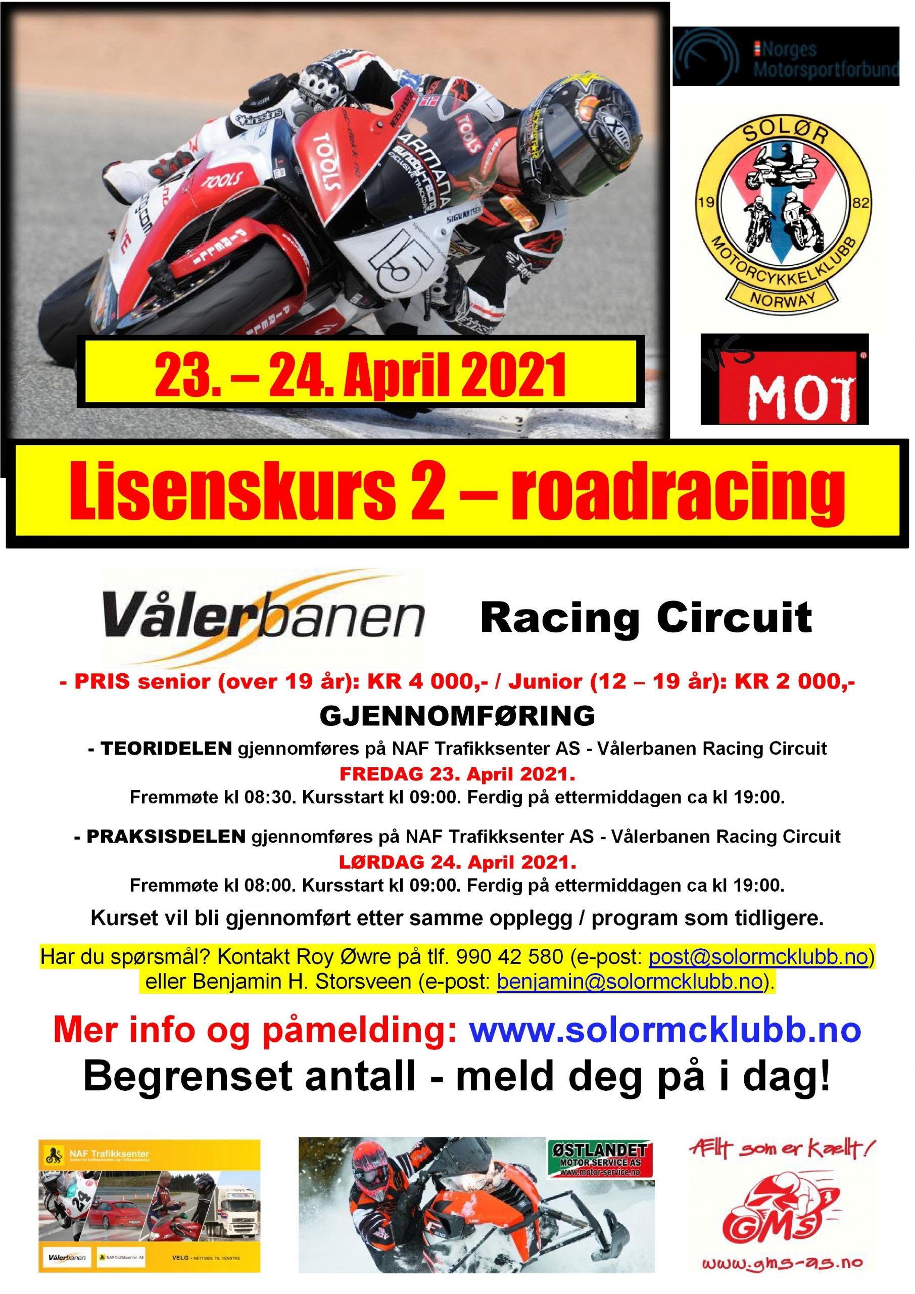 POSTER lisenskurs 2 - roadracing på Vålerbanen – APRIL 2021