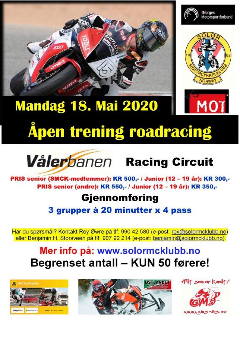 POSTER - trening roadracing på Vålerbanen – 18. Mai 2020