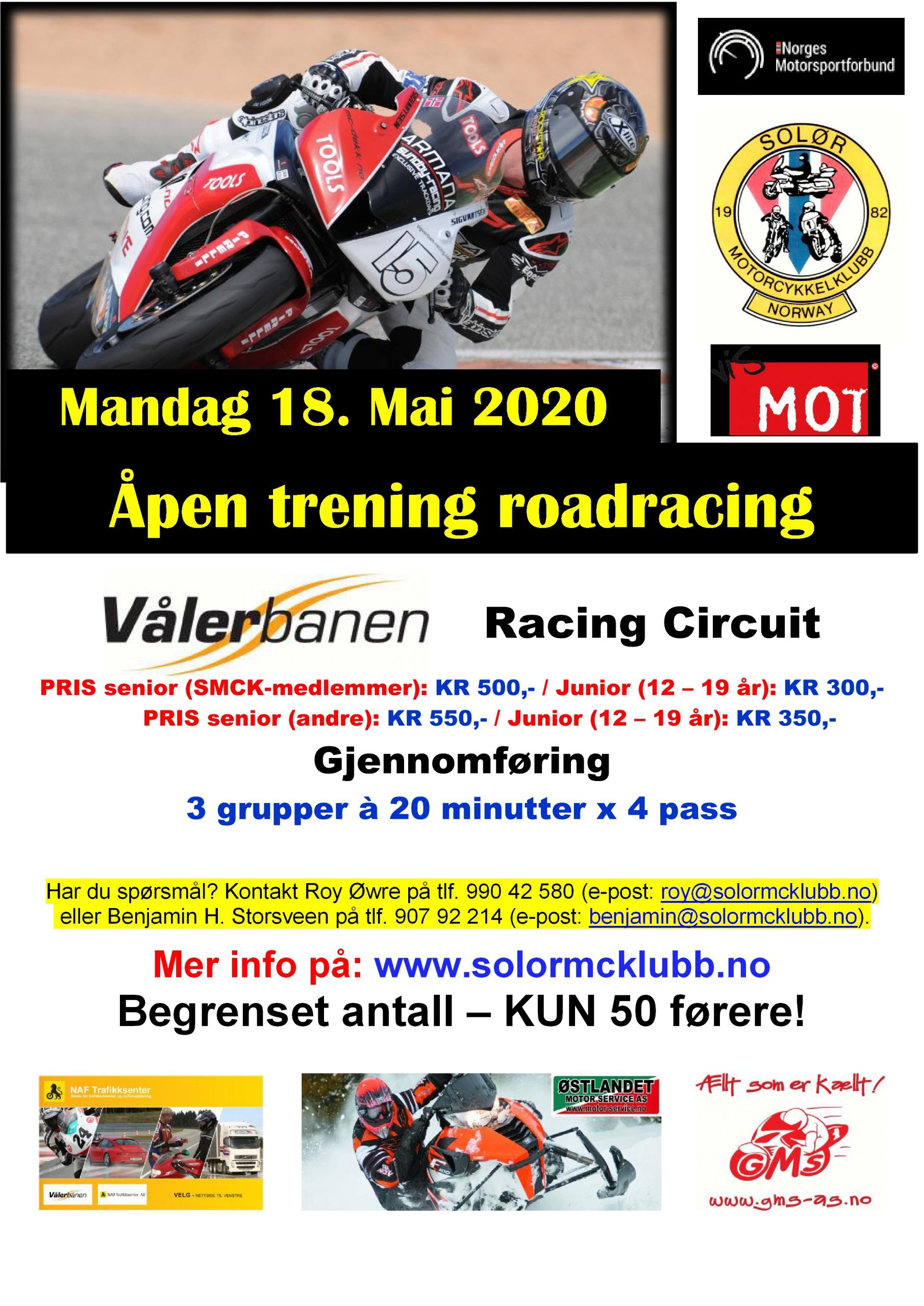 POSTER - trening roadracing på Vålerbanen – 18. Mai 2020