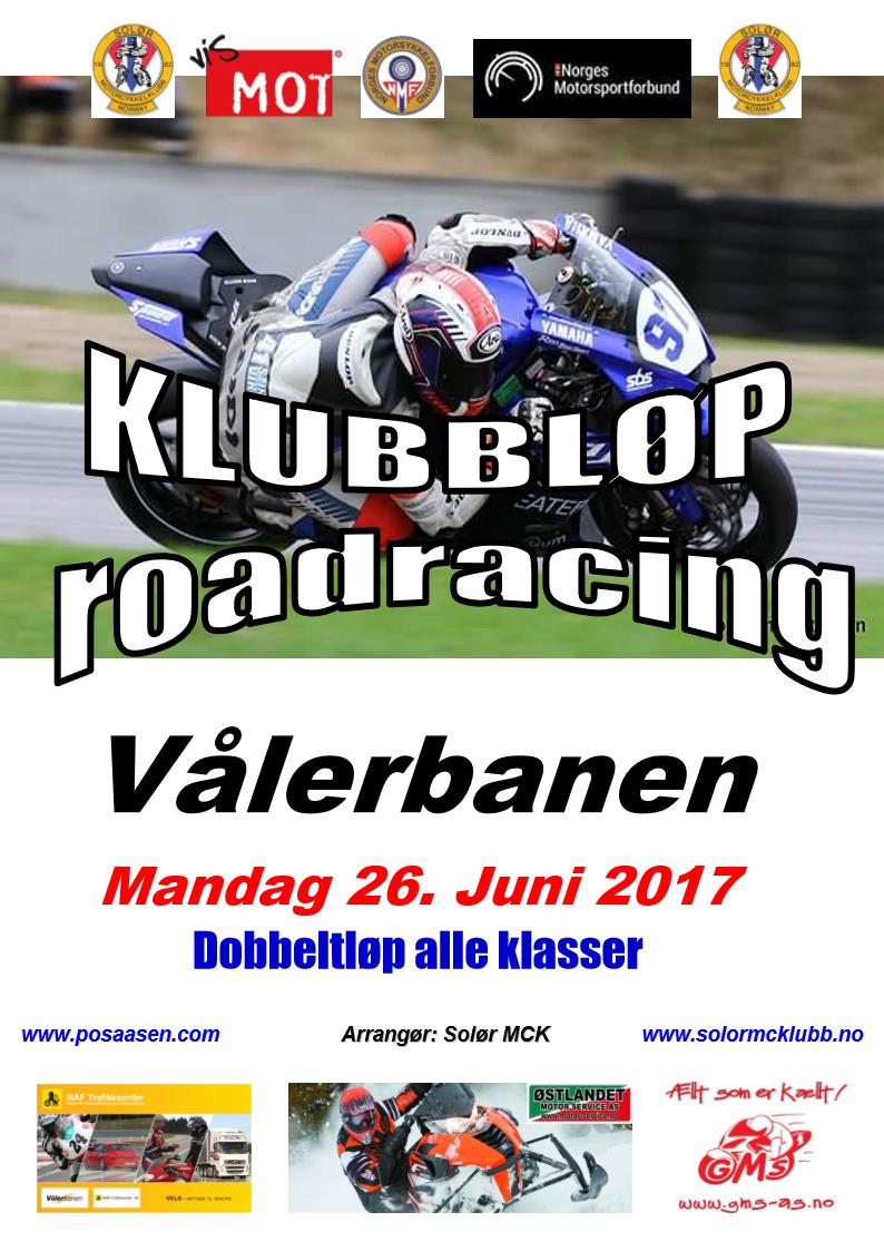Poster KLUBBLØP RR - 26. Juni 2017