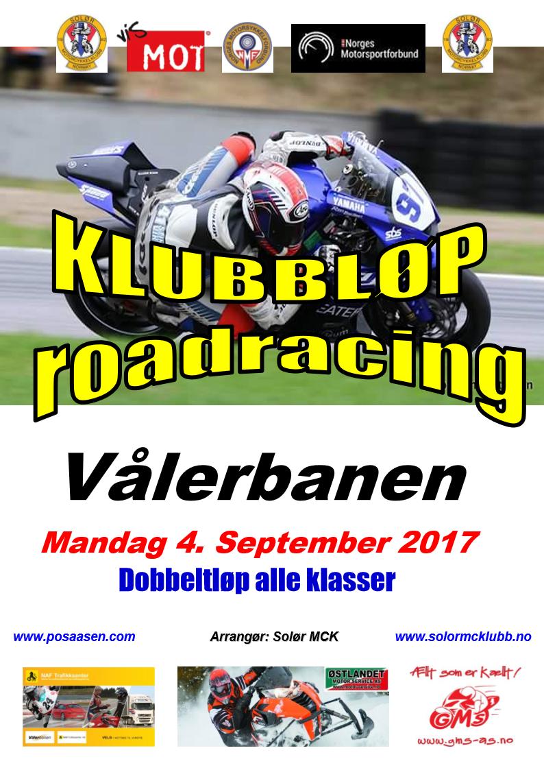 Poster KLUBBLØP RR - 4. september 2017