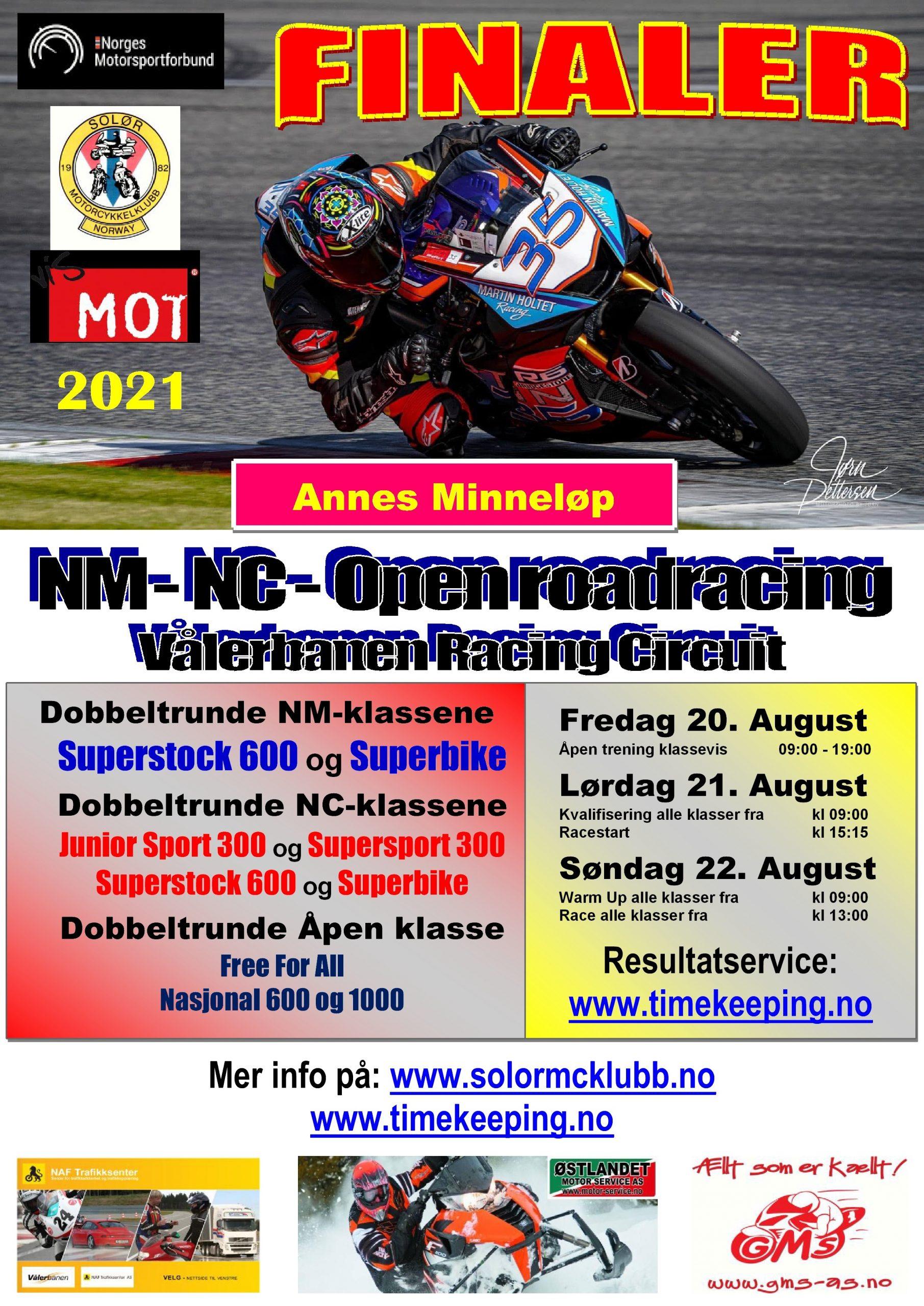 Poster NM-NC - Vålerbanen - AUGUST 2021 - NY