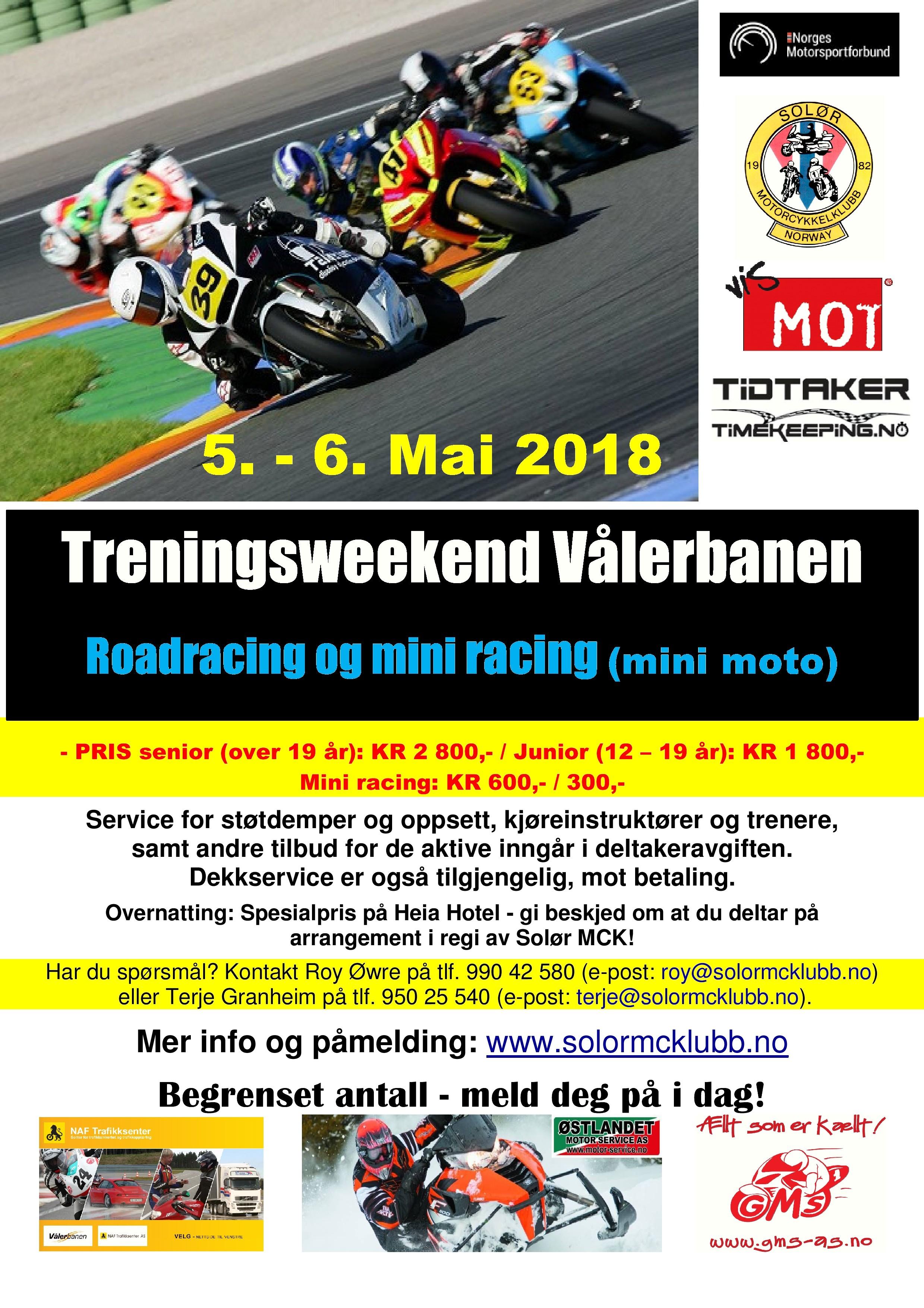 Poster - Treningsweekend Vålerbanen - Mai 2018
