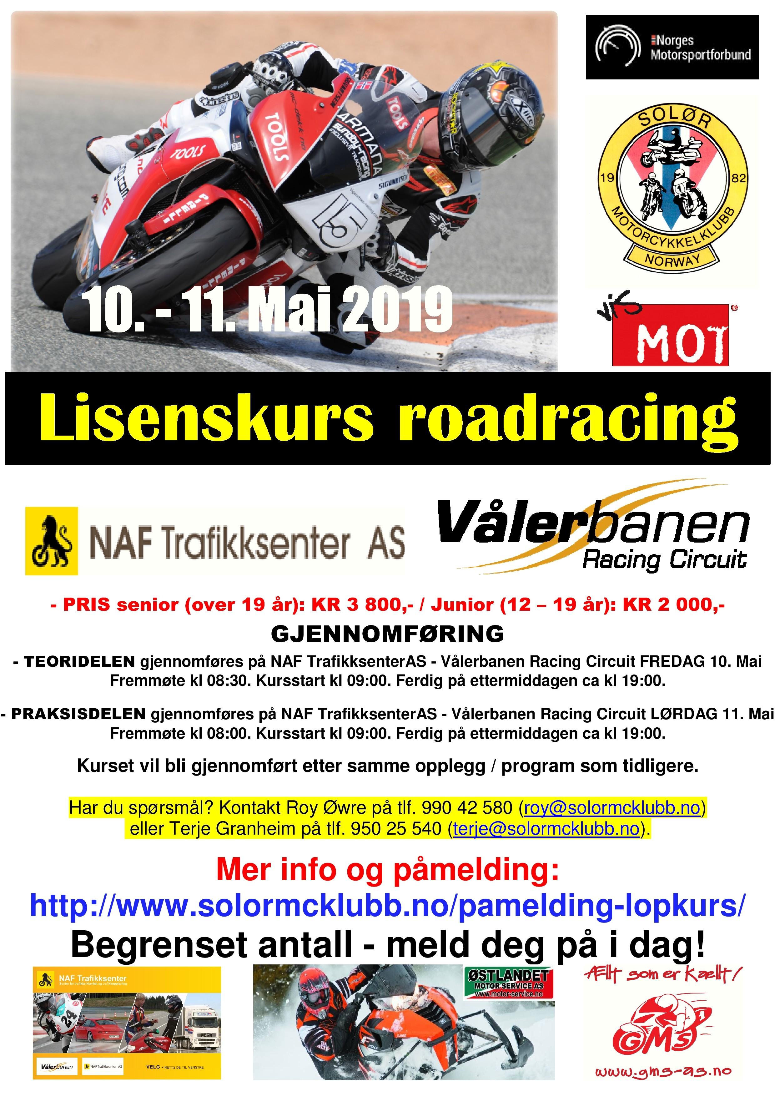 poster lisenskurs roadracing vålerbanen - mai 2019