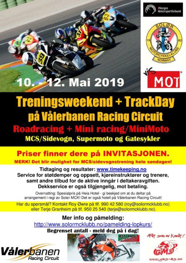 poster- treningsweekend og track day vålerbanen - mai 2019